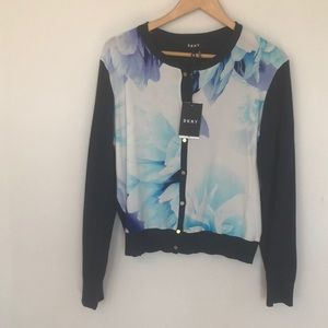 NWT DKNY Floral cardigan sweater